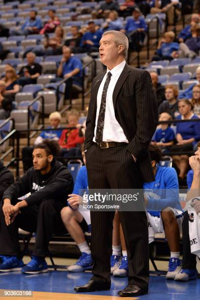 Indiana State Sycamores head coach Greg Lansing looks on during the Missouri Valley Conference college basketball game between the Northern Iowa...
