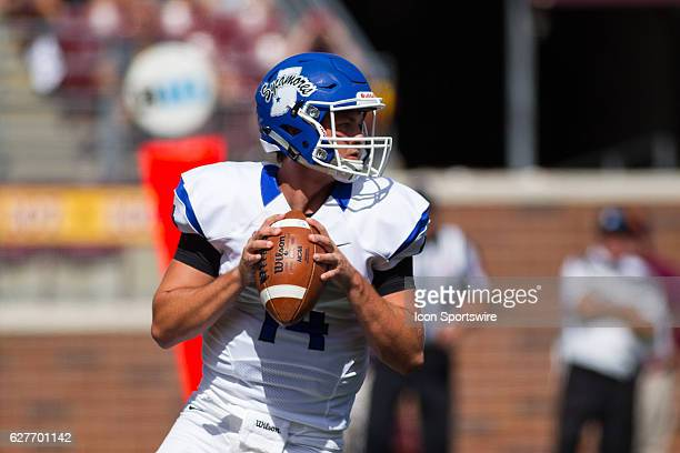 Indiana State Sycamores quarterback Isaac Harker drops back to pass in the 4th quarter during the non conference match up between the Indiana State...