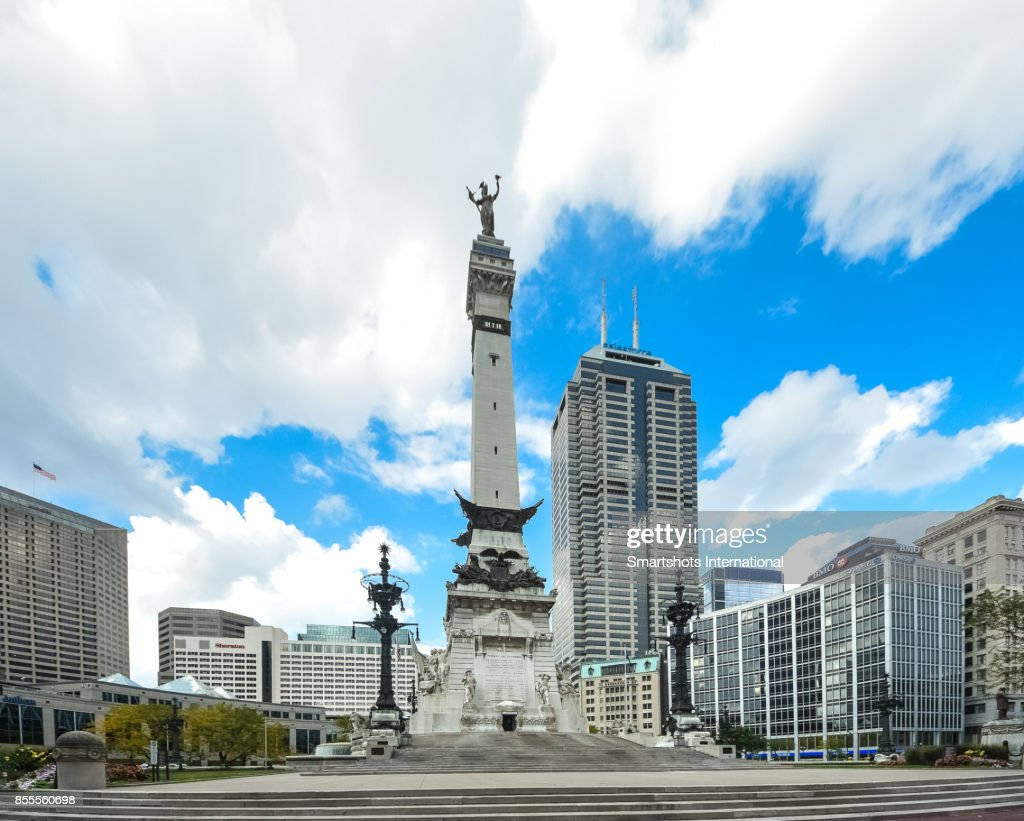 Indiana State's Soldiers and Sailors Monument on Monument Circle, Indiana, USA : Stock Photo