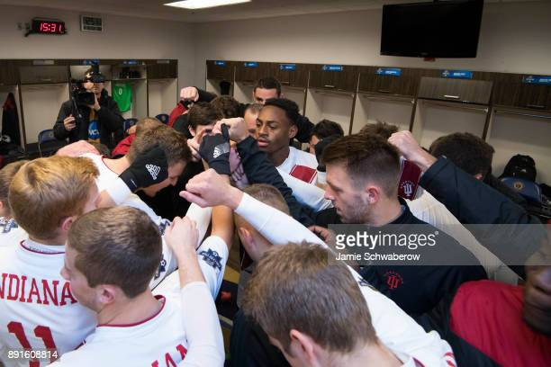 Indiana University gets prepared in the locker room prior to the Division I Men's Soccer Championship held at Talen Energy Stadium on December 10...