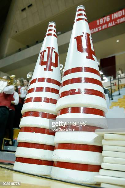 Indiana University megaphones sit on the baseline during the game between the Ohio State Buckeyes and Indiana Hoosiers on January 13 at Assembly Hall...