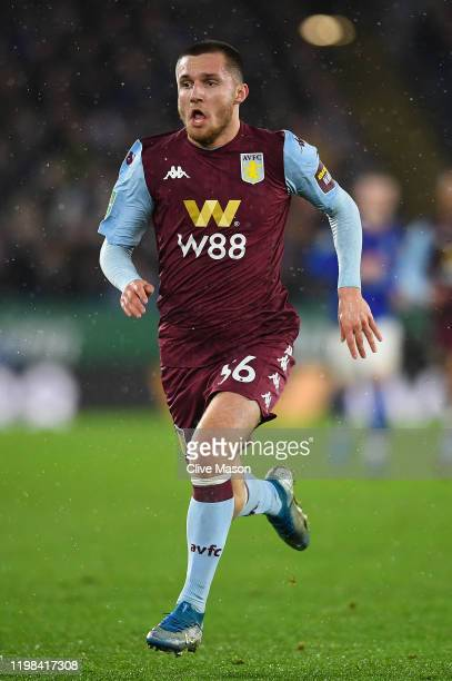 Indiana Vassilev of Aston Villa during the Carabao Cup Semi Final match between Leicester City and Aston Villa at The King Power Stadium on January...