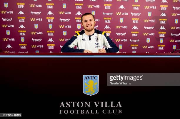 Indiana Vassilev of Aston Villa poses for a picture at Aston Villa's training ground as he signs a a new contract on May 18 2020 in Birmingham England