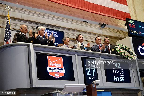 2015 Indianapolis 500 Winner Juan Pablo Montoya and Group President of NYSE Tom Farley ring the NYSE Opening Bell at New York Stock Exchange on May...