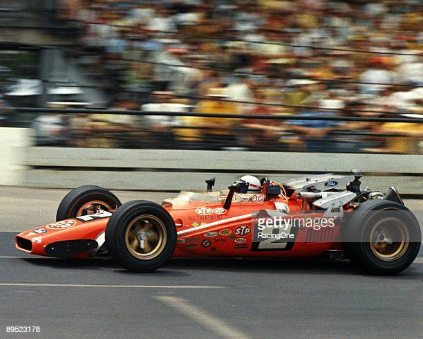 Indianapolis 500 winner Mario Andretti in the STP Clint Brawner HawkFord Andretti used this backup car in winning America's most prestigious champ...