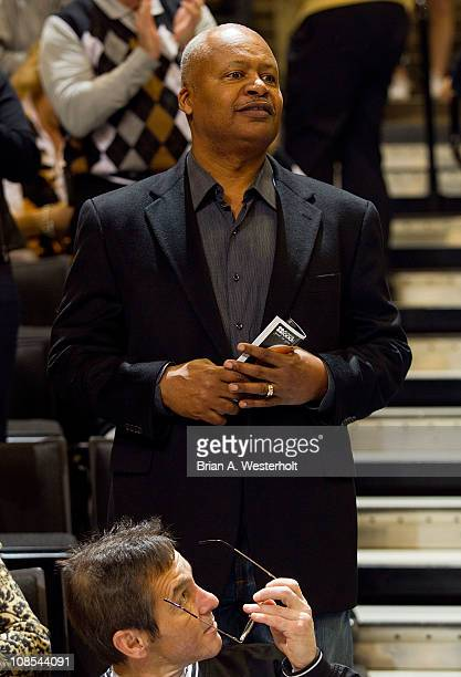 Indianapolis Colts and former Wake Forest Demon Deacons head football coach Jim Caldwell watches the game against the Virginia Cavaliers at the...