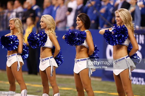 Indianapolis Colts Cheerleaders perform during the football game between the Philadelphia Eagles vs Indianapolis Colts at Lucas Oil Stadium...