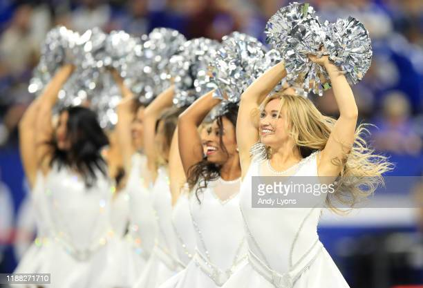 Indianapolis Colts cheerleaders perform during the game against the Jacksonville Jaguars at Lucas Oil Stadium on November 17, 2019 in Indianapolis,...