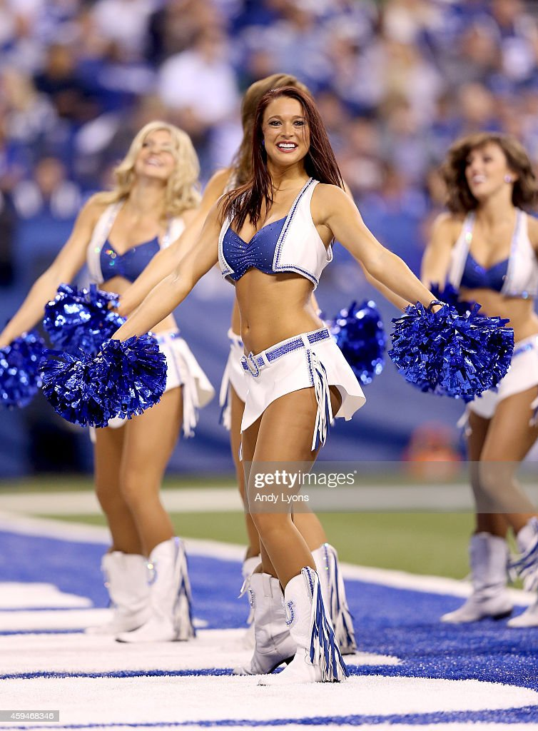 Indianapolis Colts cheerleaders perform during the game against the Jacksonville Jaguars at Lucas Oil Stadium on November 23, 2014 in Indianapolis, Indiana.