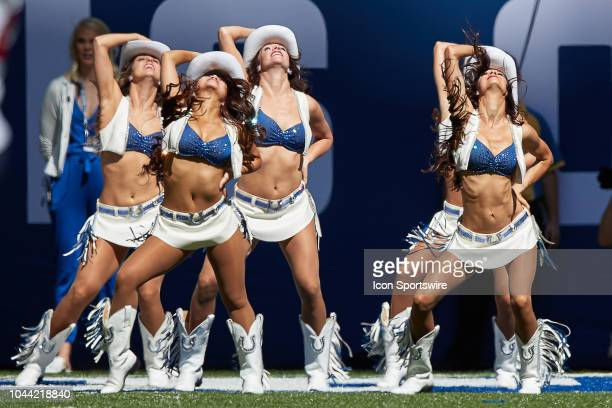 Indianapolis Colts cheerleaders perform during the NFL game between the Houston Texans and Indianapolis Colts on September 30 at Lucas Oil Stadium in...