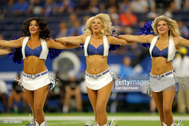 Indianapolis Colts Cheerleaders perform during the NFL preseason game between the Baltimore Ravens and the Indianapolis Colts on August 20 at Lucas...