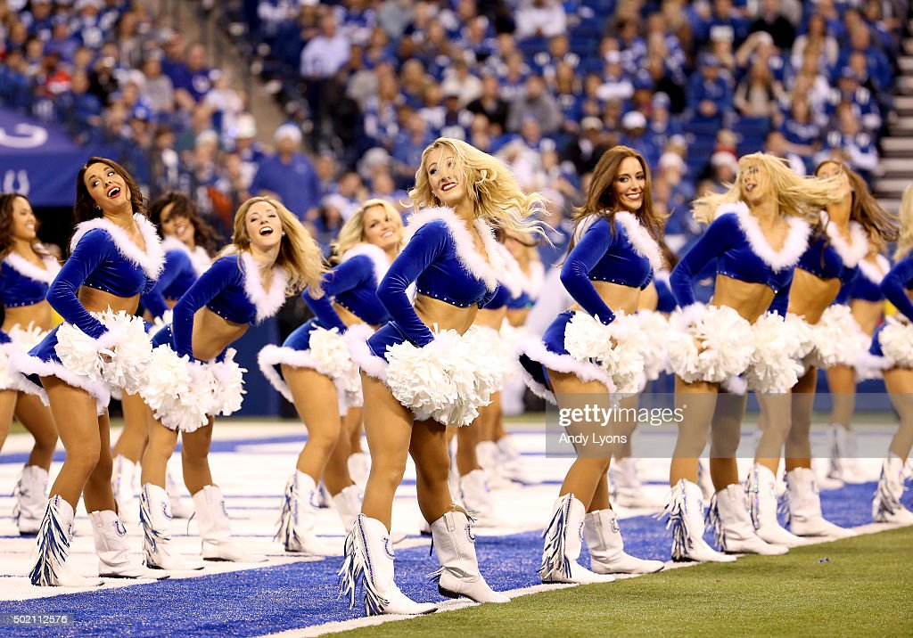 Indianapolis Colts cheerleaders perform in the game against the Houston Texans at Lucas Oil Stadium on December 20, 2015 in Indianapolis, Indiana.