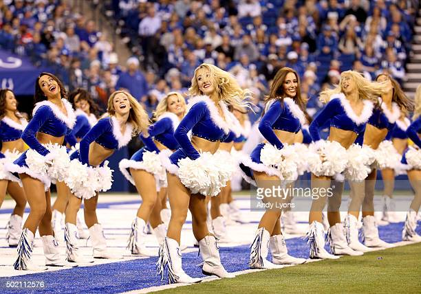 Indianapolis Colts cheerleaders perform in the game against the Houston Texans at Lucas Oil Stadium on December 20 2015 in Indianapolis Indiana