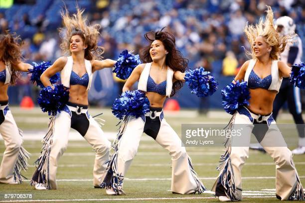 Indianapolis Colts cheerleaders perform in the game against the Tennessee Titans at Lucas Oil Stadium on November 26 2017 in Indianapolis Indiana