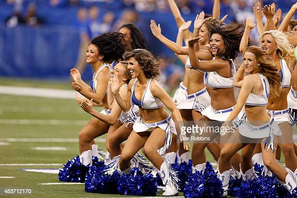 Indianapolis Colts cheerleaders perform prior to an NFL preseason game against the New York Giants at Lucas Oil Stadium on August 16 2014 in...