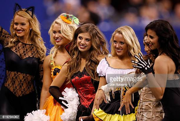 Indianapolis Colts cheerleaders pose for a picture during the game between the Indianapolis Colts and Kansas City Chiefs at Lucas Oil Stadium on...