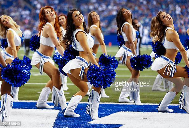Indianapolis Colts cheerleaders seen during the game against the Baltimore Ravens at Lucas Oil Stadium on August 20 2016 in Indianapolis Indiana