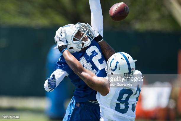 Indianapolis Colts cornerback Chris Lyles defends a pass to Indianapolis Colts wide receiver Bug Howard during the Indianapolis Colts Rookie Camp on...