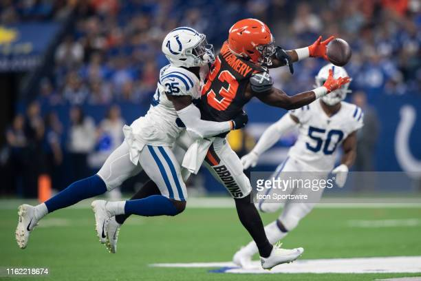 Indianapolis Colts cornerback Pierre Desir defends a pass intended for Cleveland Browns wide receiver DJ Montgomery during the week 2 NFL preseason...