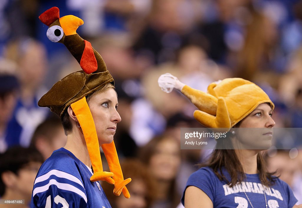 Indianapolis Colts fan watch the action during the game against the Jacksonville Jaguars at Lucas Oil Stadium on November 23, 2014 in Indianapolis, Indiana.