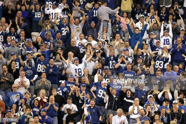 Indianapolis Colts fans celbrate during a game against the Arizona Cardinals at the RCA Dome in Indianapolis, IN on January 1, 2006. The Colts won...