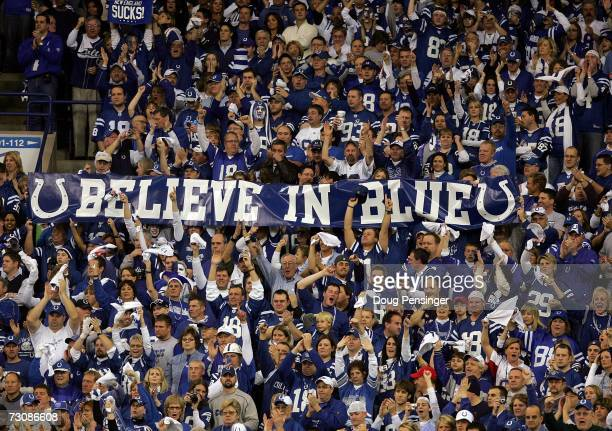 Indianapolis Colts fans hold up a banner during the AFC Championship Game between the the New England Patriots and the Indianapolis Colts on January...