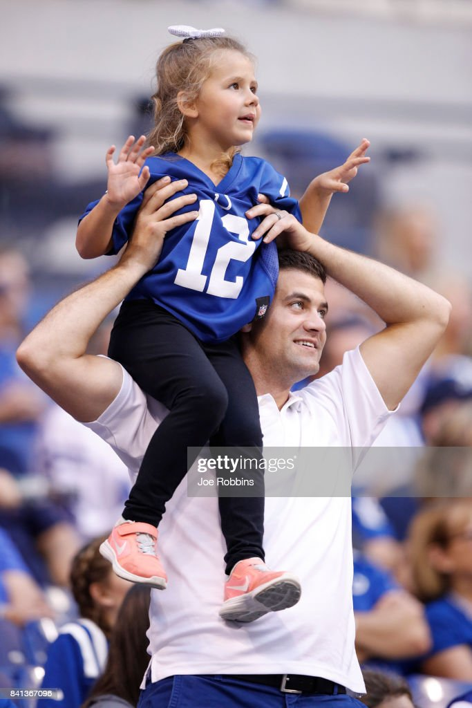 Indianapolis Colts fans look on in the first half of a preseason game against the Cincinnati Bengals at Lucas Oil Stadium on August 31, 2017 in Indianapolis, Indiana.