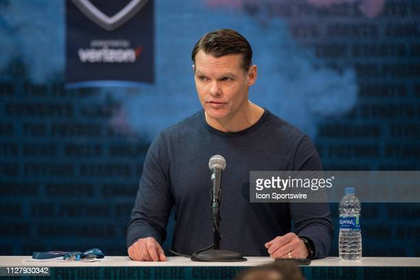 Indianapolis Colts general manager Chris Ballard answers questions from the media during the NFL Scouting Combine on February 27 2019 at the Indiana...