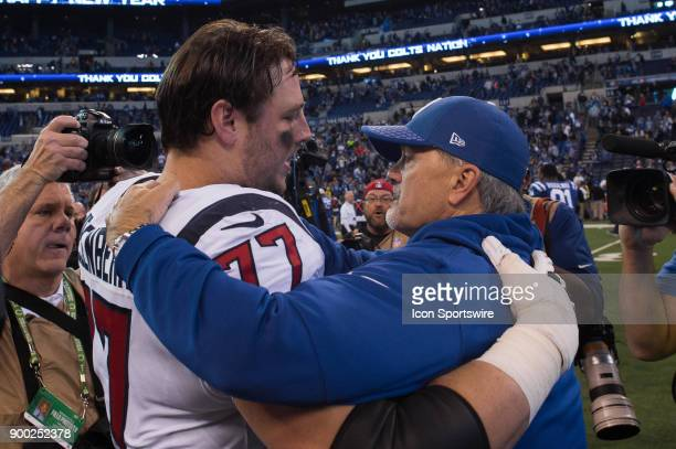 Indianapolis Colts head coach Chuck Pagano and Houston Texans tackle David Quessenberry embrace after the NFL game between the Indianapolis Colts and...
