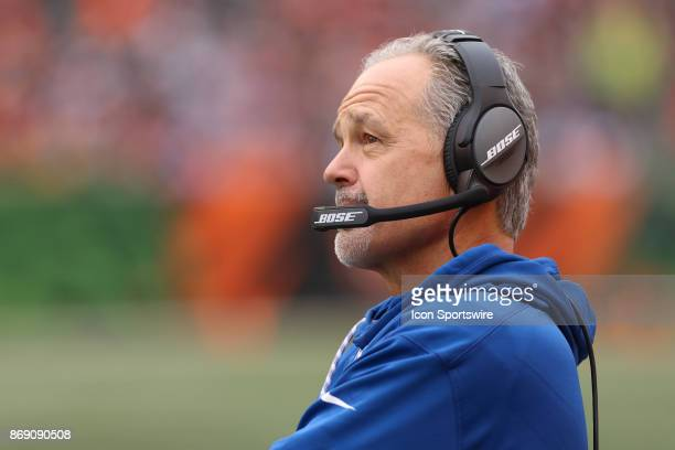 Indianapolis Colts head coach Chuck Pagano looks at the scoreboard during the game against the Indianapolis Colts and the Cincinnati Bengals on...
