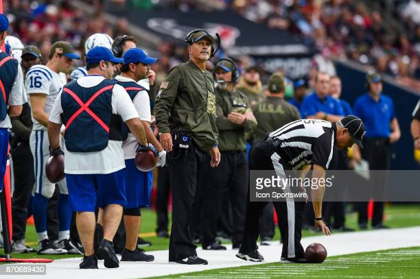 Indianapolis Colts head coach Chuck Pagano looks up at the clock during the football game between the Indianapolis Colts and the Houston Texans on...