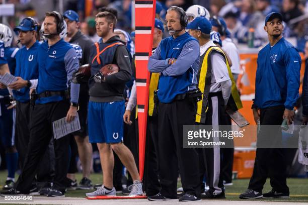 Indianapolis Colts head coach Chuck Pagano on the sidelines during the NFL game between the Denver Broncos and Indianapolis Colts on December 14 at...