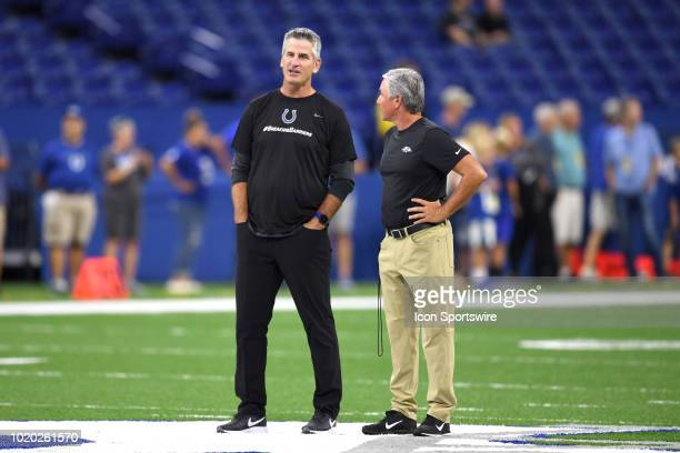 Indianapolis Colts head coach Frank Reich looks on prior to game action during the preseason NFL game between the Indianapolis Colts and the...