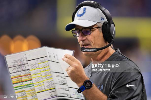 Indianapolis Colts head coach Frank Reich on the sidelines during the NFL preseason game between the Indianapolis Colts and San Francisco 49ers on...