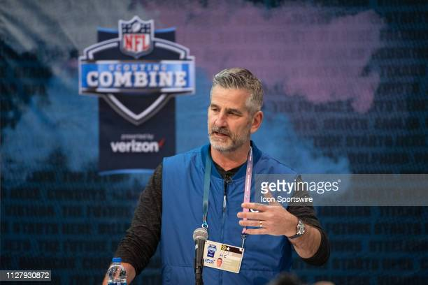 Indianapolis Colts head coach Frank Reich talks to the media during the NFL Scouting Combine on February 27 2019 at the Indiana Convention Center in...