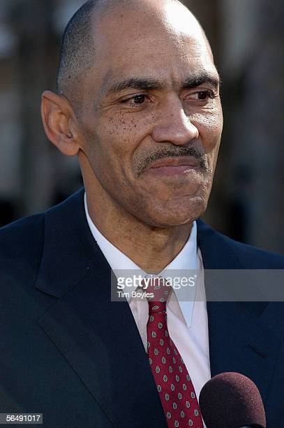 Indianapolis Colts head coach Tony Dungy speaks to the news media after the funeral for his son James Dungy December 27 2005 in Tampa Florida...