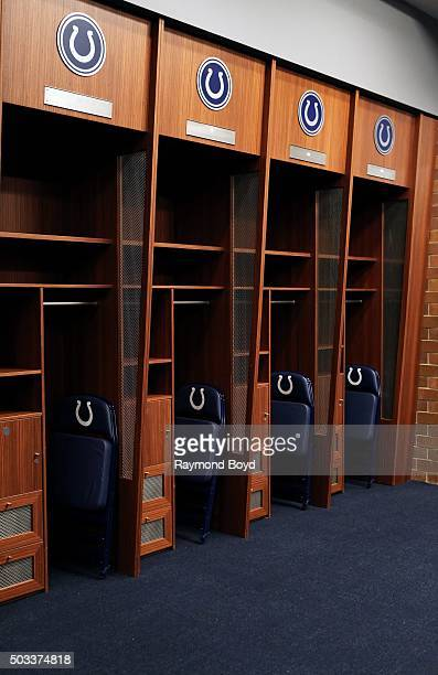 Indianapolis Colts locker room at Lucas Oil Stadium home of the Indianapolis Colts football team on December 22 2015 in Indianapolis Indiana