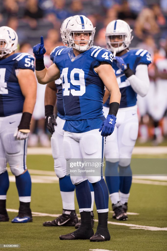 Indianapolis Colts outside linebacker Garrett Sickels (49) looks to the sidelines during the NFL preseason game between the Cincinnati Bengals and Indianapolis Colts on August 31, 2017, at Lucas Oil Stadium in Indianapolis, IN.