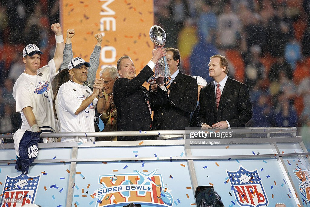 Indianapolis Colts owner Jim Irsay hoists the Super Bowl Trophy following the game against the Chicago Bears at Super Bowl XLI on February 4, 2007 at Dolphin Stadium in Miami Gardens, Florida. The Colts won 29-17.