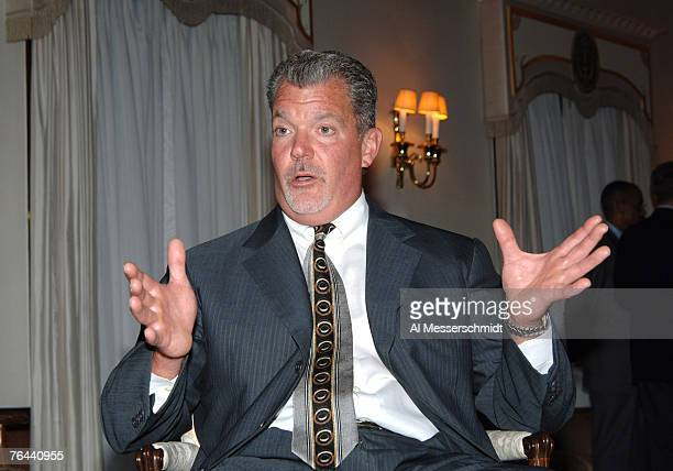 Indianapolis Colts owner Jim Irsay talks to the media at a reception at the United States Embassy in Tokyo Aug. 5.