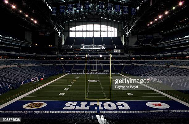 Indianapolis Colts playing field at Lucas Oil Stadium, home of the Indianapolis Colts football team on December 22, 2015 in Indianapolis, Indiana.