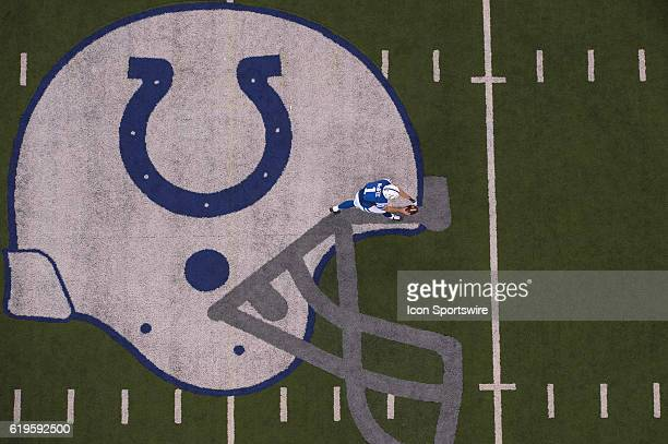 Indianapolis Colts punter Pat McAfee punts from the midfield logo during the NFL game between the Kansas City Chiefs and Indianapolis Colts on...