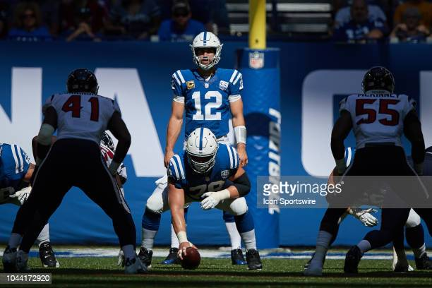 Indianapolis Colts quarterback Andrew Luck looks on at the line of scrimmage during the NFL game between the Houston Texans and Indianapolis Colts on...
