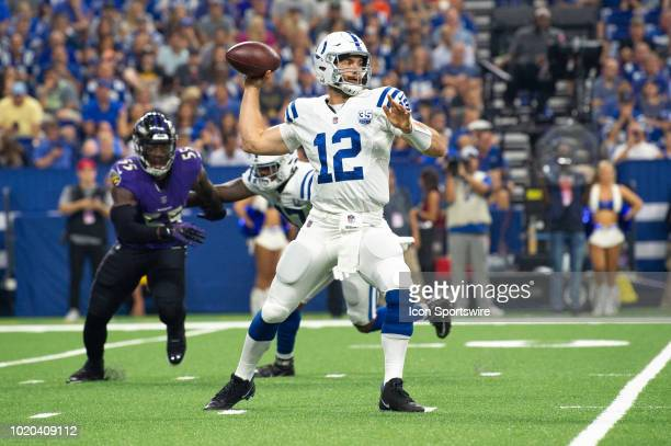 Indianapolis Colts quarterback Andrew Luck throws downfield during the NFL preseason game between the Indianapolis Colts and Baltimore Ravens on...