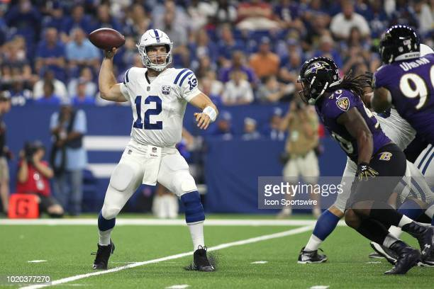 Indianapolis Colts quarterback Andrew Luck throws the football in action during the preseason NFL game between the Indianapolis Colts and the...