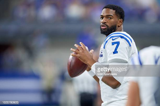 Indianapolis Colts quarterback Jacoby Brissett warms up with the football in action during the preseason NFL game between the Indianapolis Colts and...