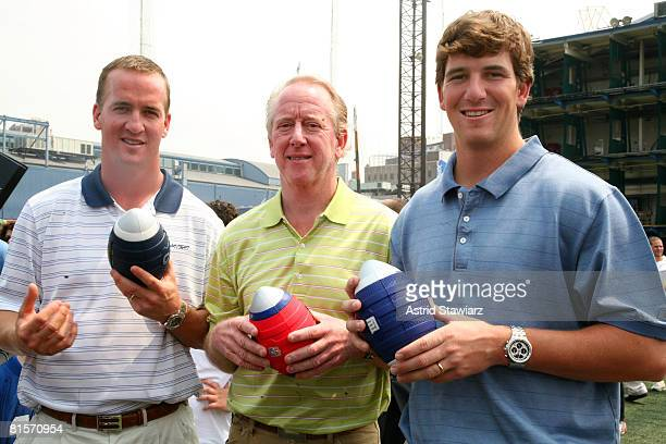 Indianapolis Colts quarterback Peyton Manning Archie Manning and New York Giants quarterback Eli Manning attends the NERF Father's Day Football...