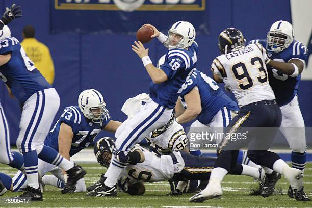 Indianapolis Colts quarterback Peyton Manning is sacked by San Diego Chargers linebacker Shawne Merriman during first half action of the Chargers...