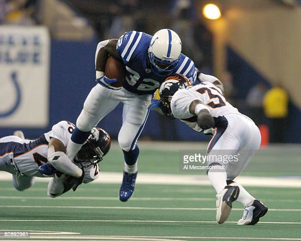 Indianapolis Colts running back Edgerrin James rambles for a gain at the RCA Dome Indianapolis Indiana January 4 2004 in an AFC wildcard playoff game...