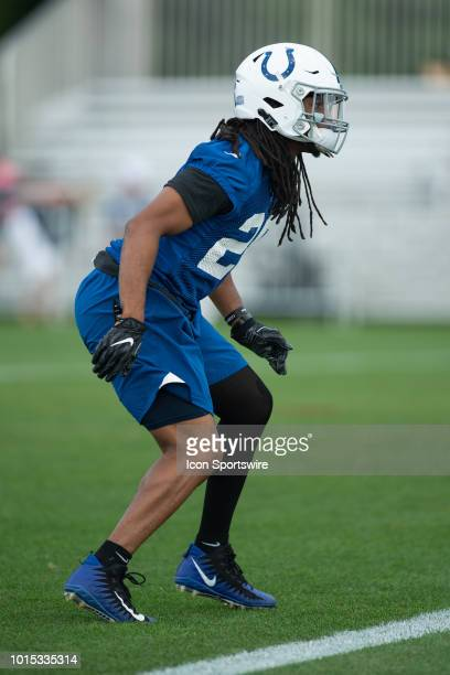 Indianapolis Colts safety Clayton Geathers warms up on the field before the Indianapolis Colts training camp practice on August 11 2018 at the Grand...